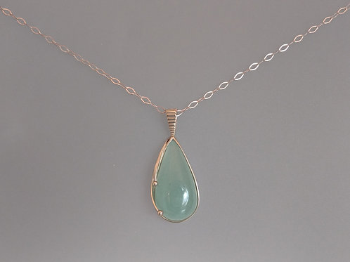 Pendant aquamarine in white gold