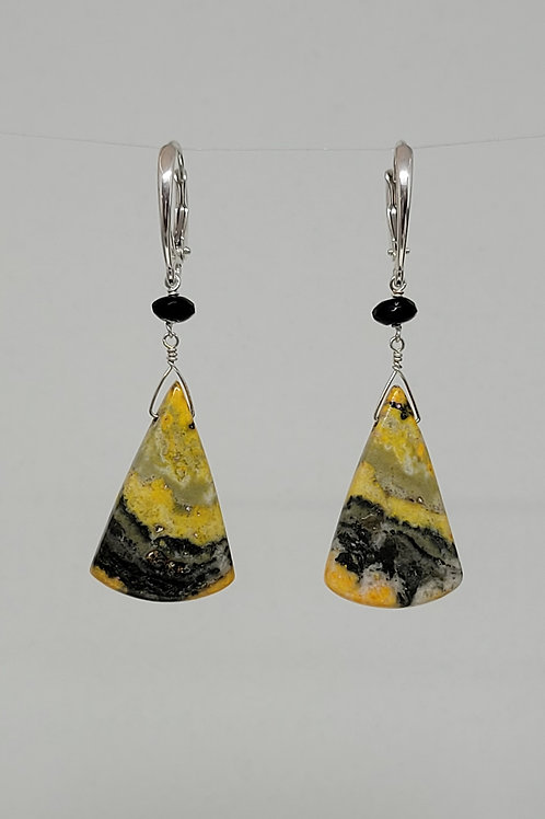 Earrings bumble bee jasper and black spinel in sterling silver