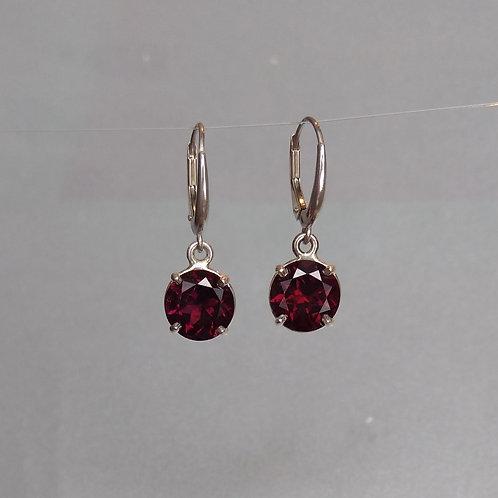 Earrings rhodolite garnet in silver