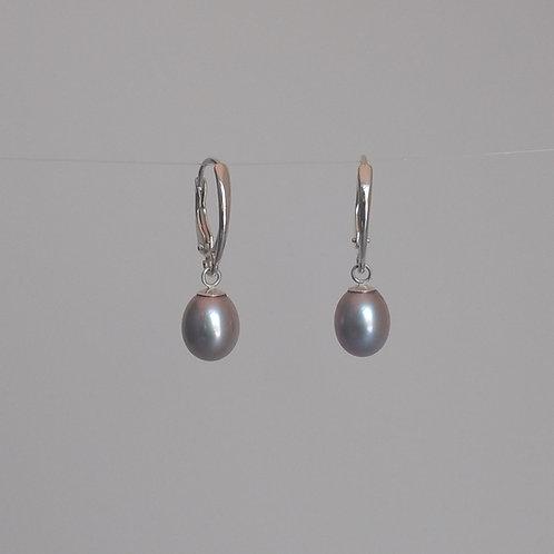 Earrings grey pearl drops