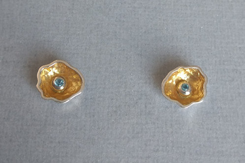 Earrings sterling silver with blue topaz by Eva Stone
