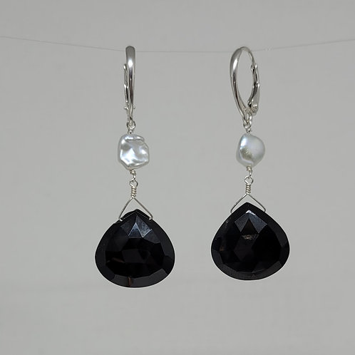 Earrings black spinel and pearls in sterling silver