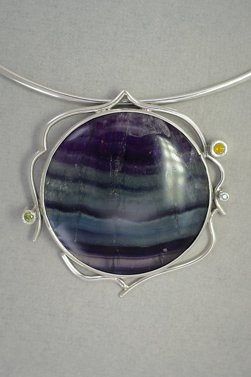Pendant fluorite in sterling silver and diamonds