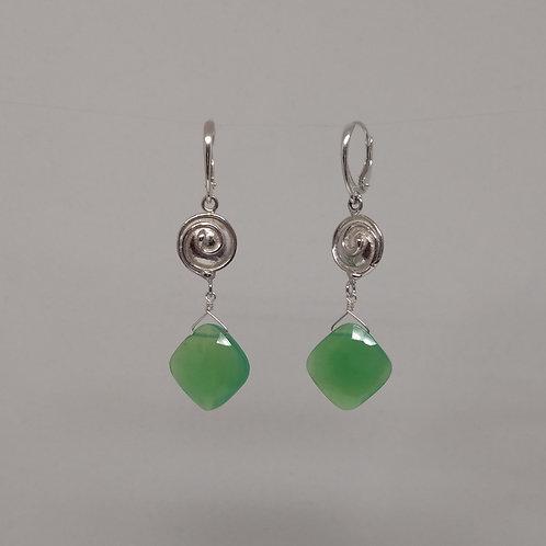 Earrings chrysoprase drops in sterling silver