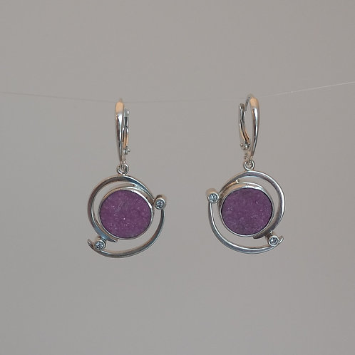 Earrings cobalt calcite in sterling silver