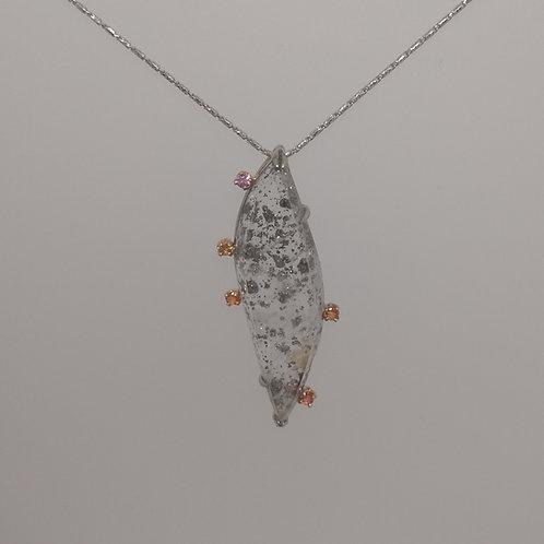 Pendant quartz with pyrite inclusions in white gold
