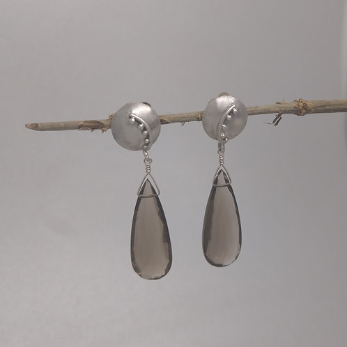 Earrings smoky quartz