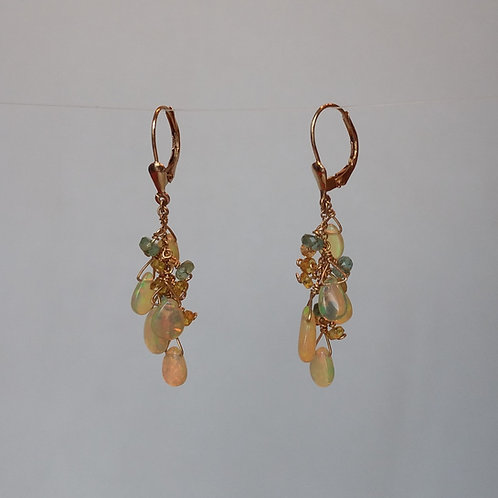Earrings opals cluster