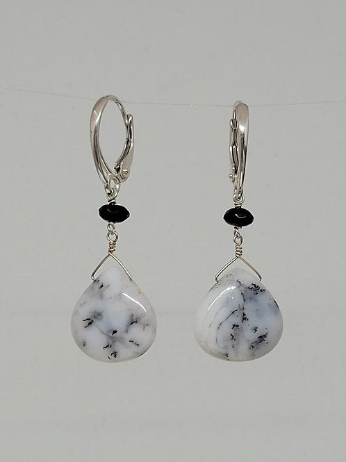 Earrings dendrite opal and black spinel in sterling silver