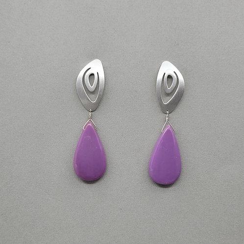 Earrings sterling silver with phosphosiderite