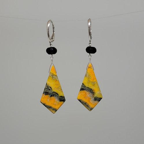 Earrings bumble bee jasper and black spinel in sterling silverr