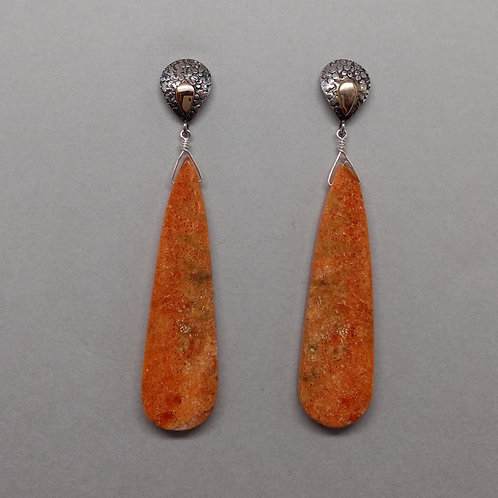 Earrings sponge coral in sterling silver