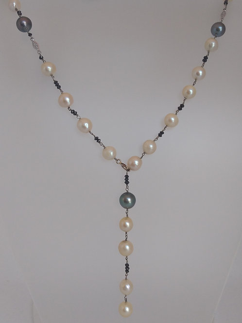 Pearls and black diamonds necklace