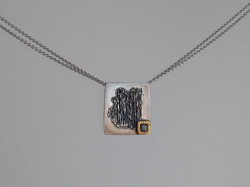 Pendant sterling silver rough diamond by Eva Stone