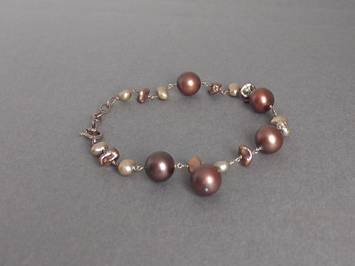 bracelet brown apearlsnd beige pearls