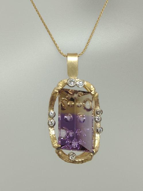 Pendant with fantasy cut ametrine and diamonds