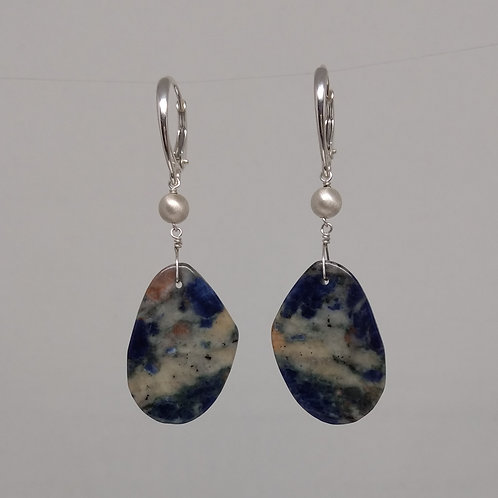 Earrings with blue sodalite in sterling silver