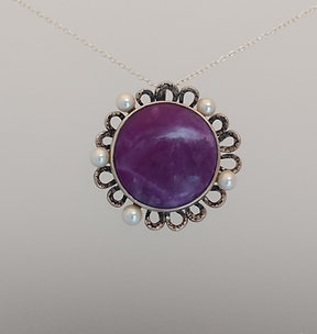 Pendant with sugilite in sterling silver