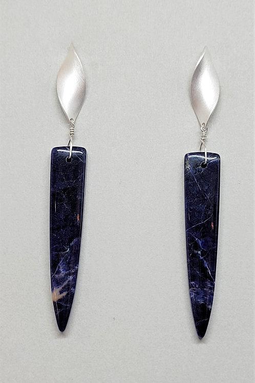 Earrings sodalite in sterling silver