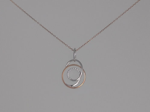 Pendant white and rose gold with diamonds by Breuning