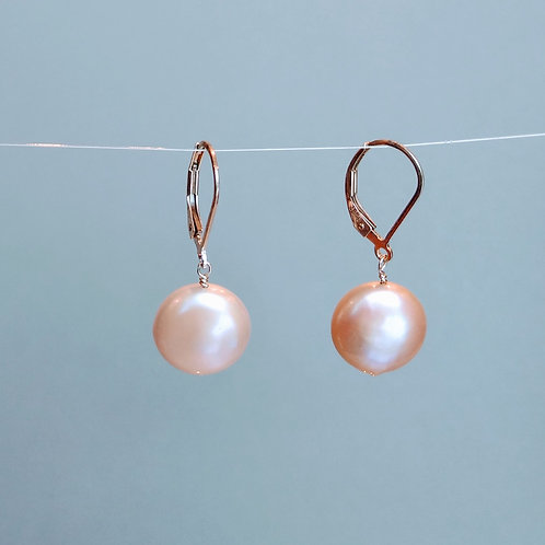 Earrings pink coin pearls