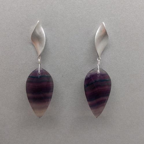 Earrings fluorite drops in sterling silver