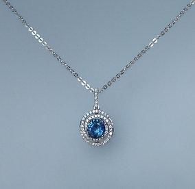 Pendant blue sapphire and diamonds