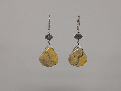 Earrings bumble bee jasper in sterling silver