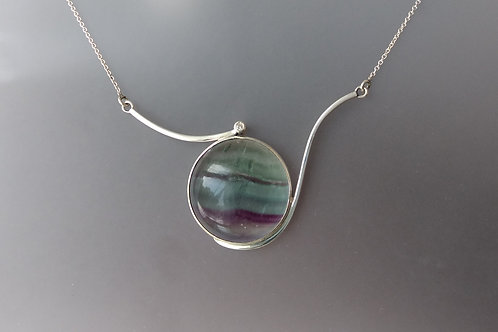 Necklace fluorite and diamond  in sterling silver