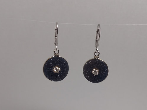 Black drusy and diamonds earrings