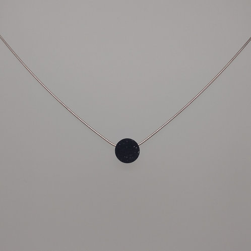 Pendant black druzy on snake chain sterling silver.