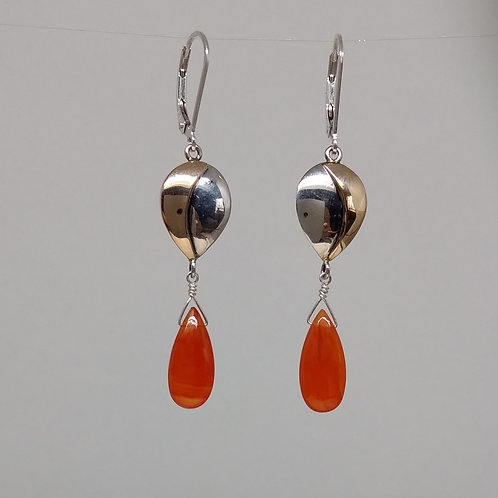 Earrings cornelian smooth briolettes, in sterling silver and 14K yellow