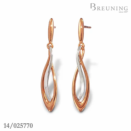 Earrings sterling silver plated rhodium and rose gold by Breuning
