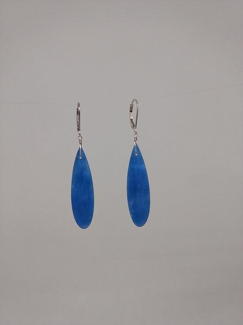 Earrings blue onyx drops in sterling silver