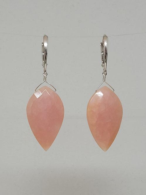 Earrings pink opal in sterling silver