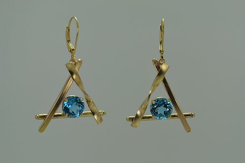 Earrings dangle triangle with blue topaz