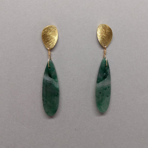 Earrings green jade with yellow gold tops