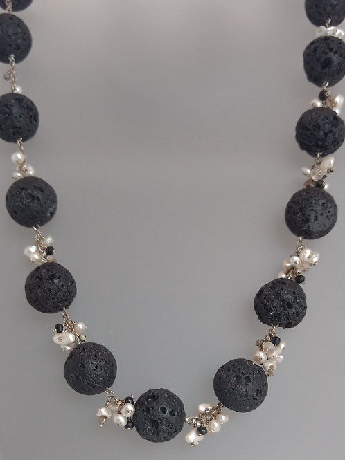 Necklace lava beads, pearls and black spinel