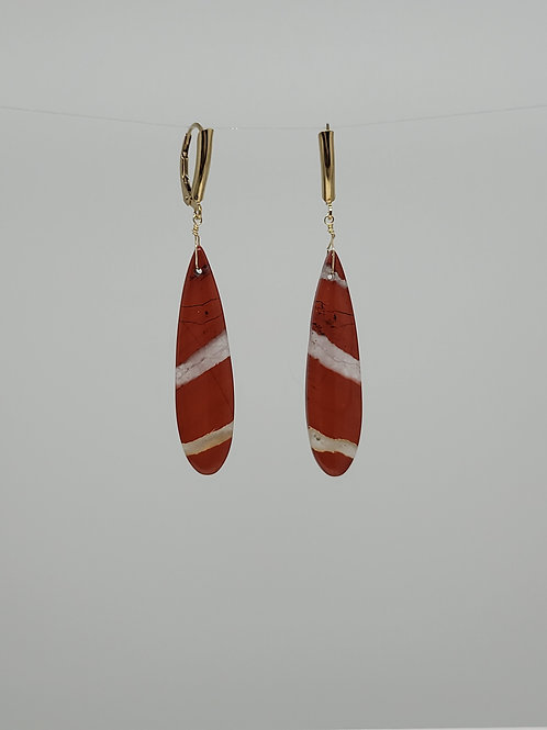 Earrings jasper with yellow gold filled