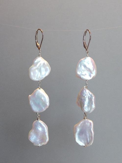 Earrings large keshi pearls