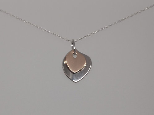 Pendant silver and rose gold petals