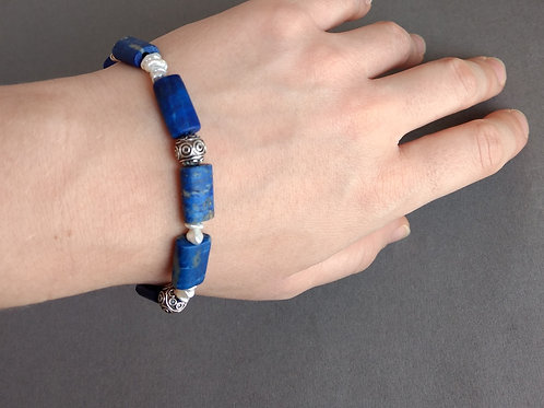 bracelet lapis, pearls and ssterling silver