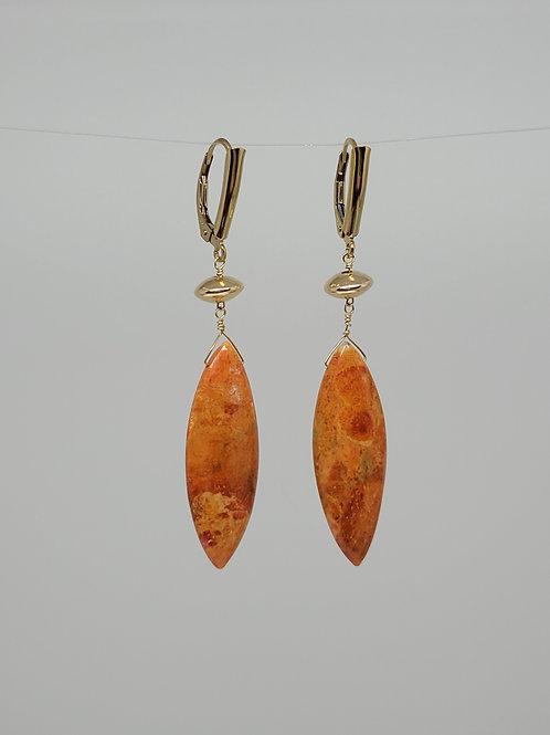 Earrings sponge coral yellow gold filled