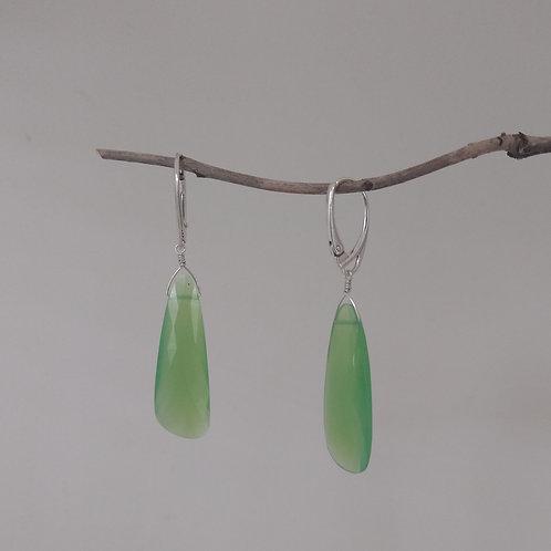 Earrings chrysoprase drops