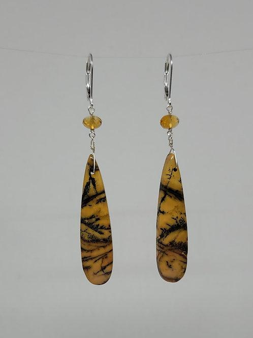 Earrings jasper and citrine beads in sterling silver