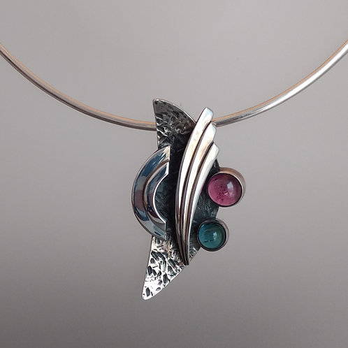 Pendant sterling silver green pink tourmaline