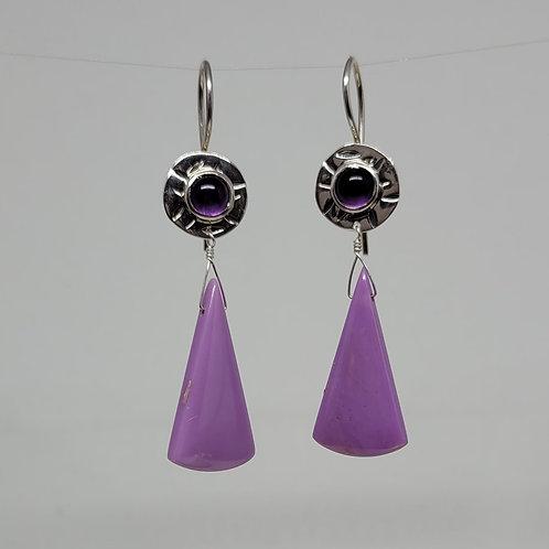 Earrings phosphosiderite  drops and amethyst in sterling silver