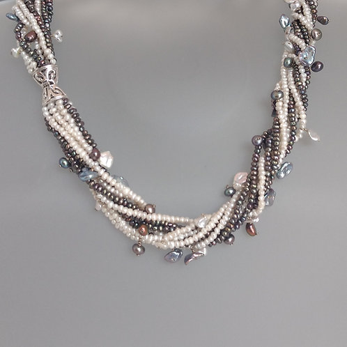 necklace multistrand grey and white pearls