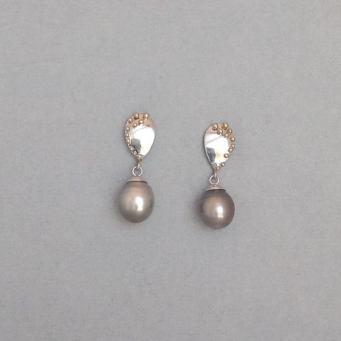 Grey Tahitian pearls earrings