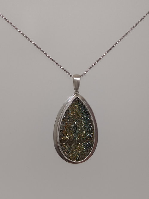 Pendant rainbow pyrite in sterling silver
